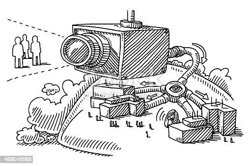 Big Brother Concept Surveillance Camera Drawing Stock