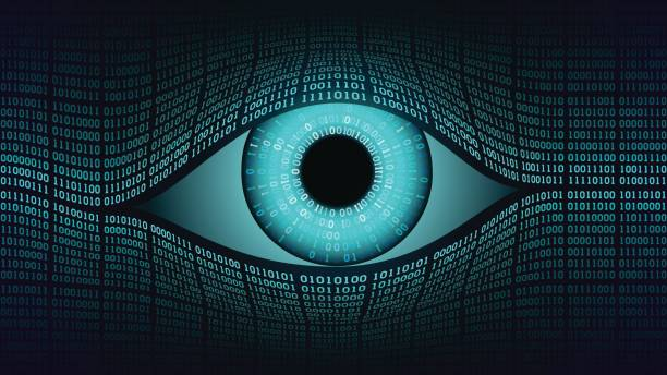 big brother electronic eye concept, technologies for the global surveillance, security of computer systems and networks - сетчатка stock illustrations