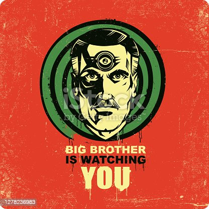 Classic sci fi symbol of spying and oppression, big brother face.