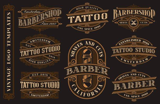 illustrations, cliparts, dessins animés et icônes de grand bundle de modèles de logo vintage pour le studio de tatouage et salon de coiffure - polices de tatouage