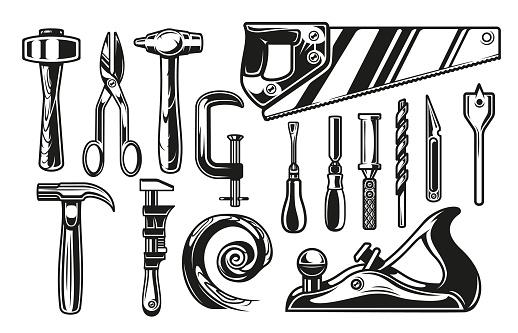 Big bundle vector illustrations for carpenter tools theme