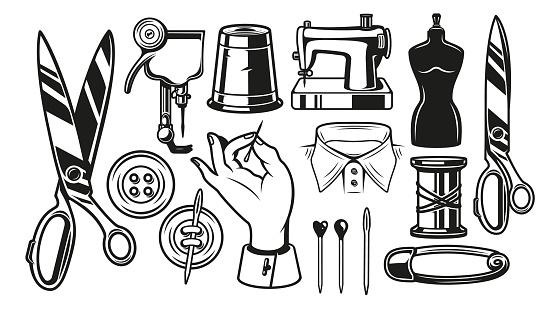 Big bundle vector illustrations of tailor tools