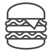 Big burger line icon, Street food concept, King Burger sign on white background, Big and tasty hamburger icon in outline style for mobile concept and web design. Vector graphics