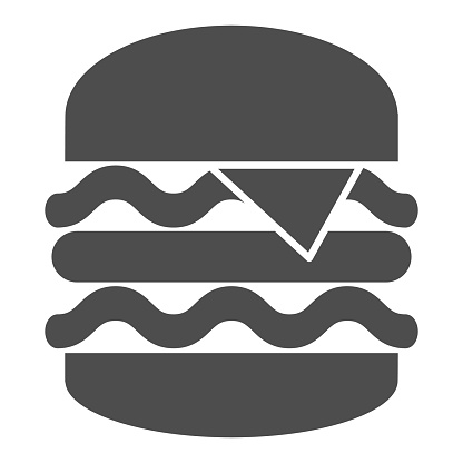 Big burger solid icon, Street food concept, King Burger sign on white background, Big and tasty hamburger icon in glyph style for mobile concept and web design. Vector graphics.