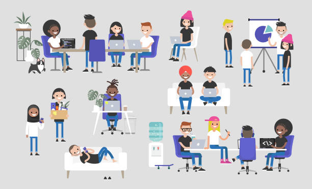 illustrazioni stock, clip art, cartoni animati e icone di tendenza di big business set. co-working space. office life. diversity collective. startup. millennials at work. generation z. technologies. project management. flat editable vector illustration, clip art - guy sofa