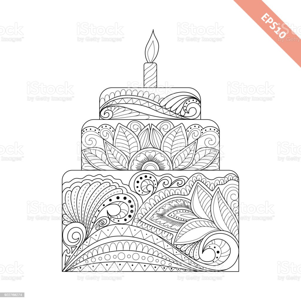 Big Cake With Candle With Floral Doodle Ornament Coloring Page Book