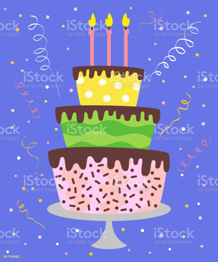 Big Cake With Candles Confetti Royalty Free