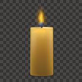 Realistic Big Paraffin Candle with Flame Fire Light on a Transparent Background. Vector illustration