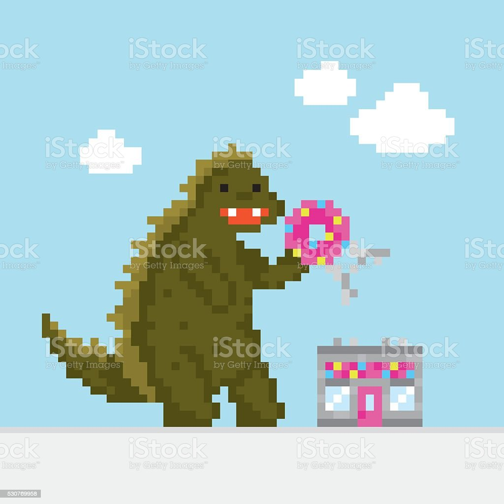 Big cartoon dinosaur attacking donut cafe vector illustration vector art illustration