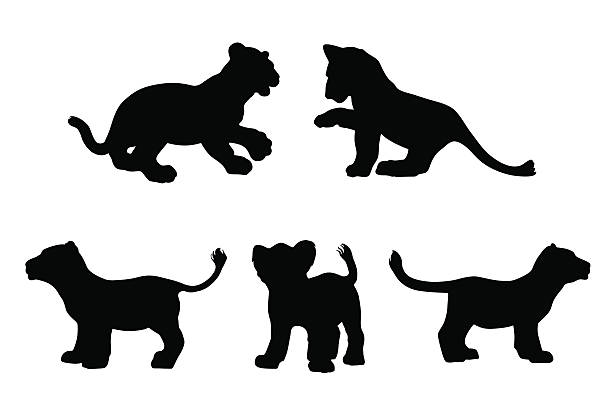 Big cat cubs in silhouette Big cat cubs playing in silhouette lion cub stock illustrations