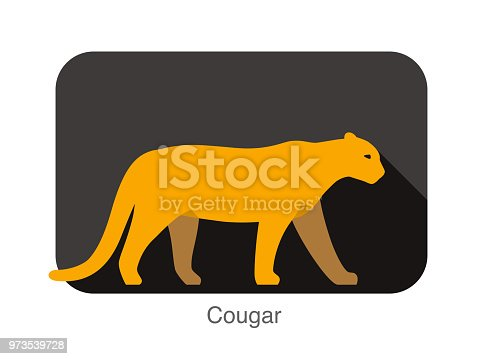 big cougar cat walking side flat 3D icon design
