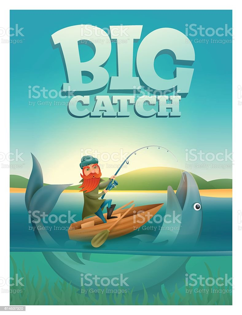 Big catch concept poster card vector art illustration