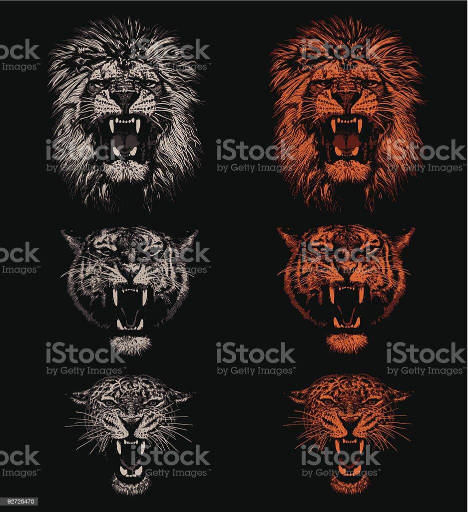 Grandes gatos - Vetor de Agressão royalty-free