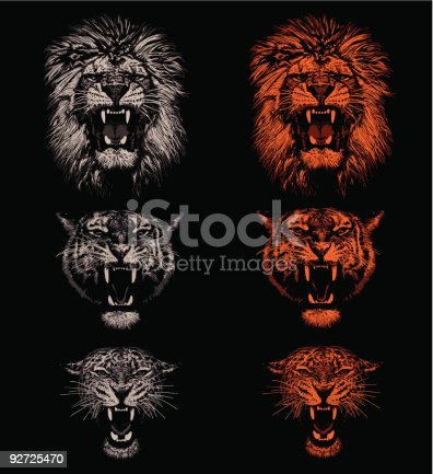 Lion, tiger and leopard. Hand drawing - lights and shadows style.