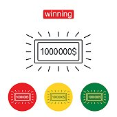 Big Check for One Million Dollars.Money and business, finance success rich, lottery and award, vector. Outline illustration of lottery concept for web design, mobile application. Editable stroke.
