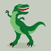Big cheerful dinosaur on a green background.