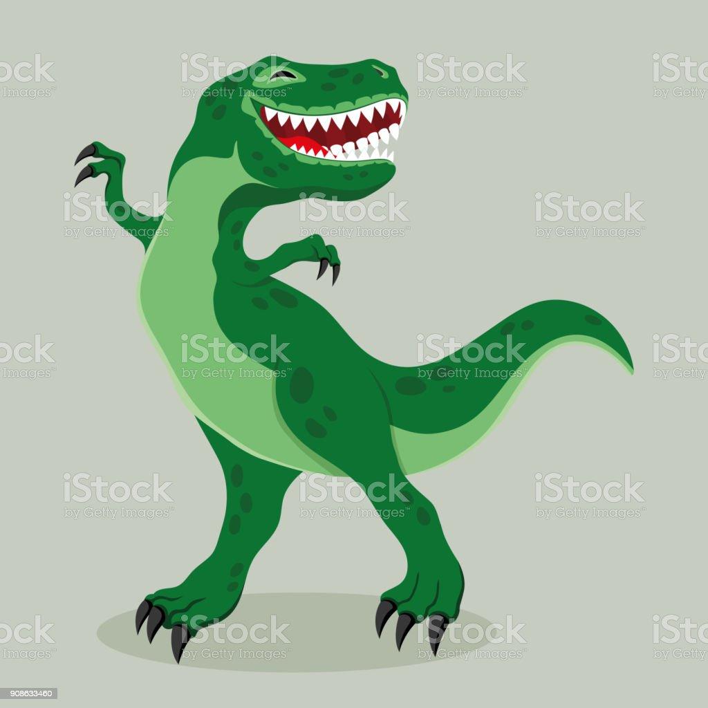 Big cheerful dinosaur. vector art illustration
