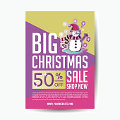 Big christmas sale poster template trendy punchy pastel colors. Vector illustration eps 10.