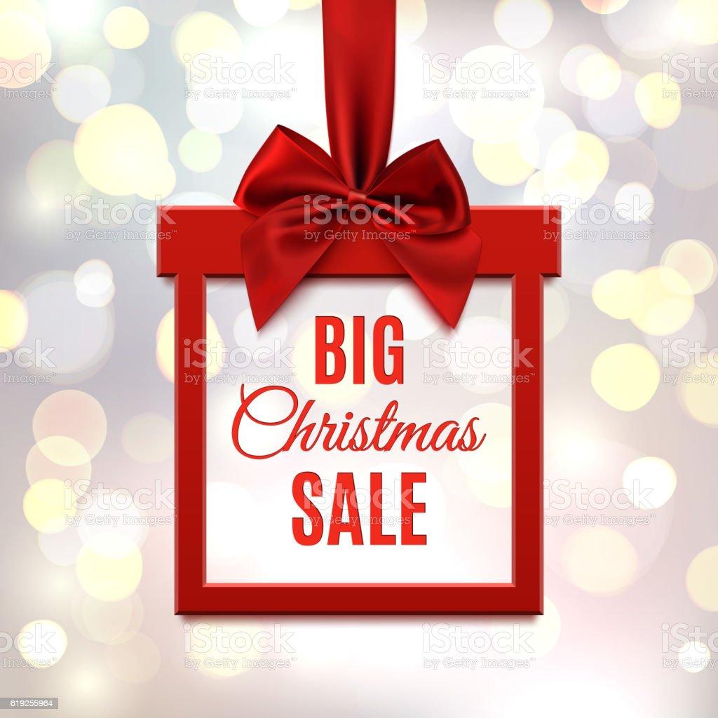 Big Christmas sale, square banner in form of gift. vector art illustration