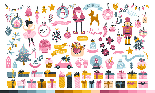 Big Christmas set for a princess. Cute characters, Santa, toys, Christmas tree, sweets and gifts. Cute palette of sweets. Vector illustration in childish hand-drawn Scandinavian style. Pastel palette.