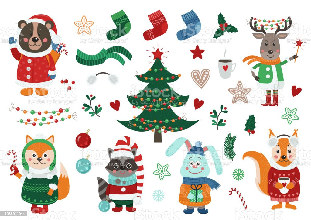 Christmas Items.Big Christmas Set With Isolated Cute Forest Animals Dressed In Winter Clothes And Christmas Items Stock Illustration Download Image Now