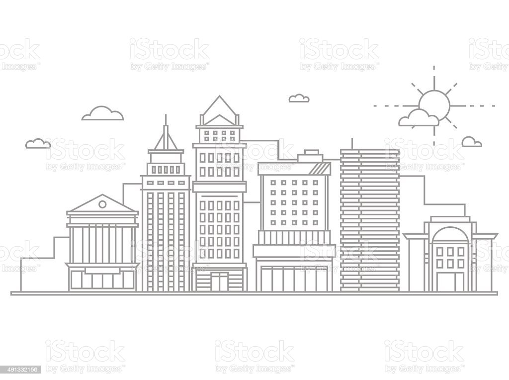 Big city business center skyscrapers megapolis buildings in linear flat vector art illustration