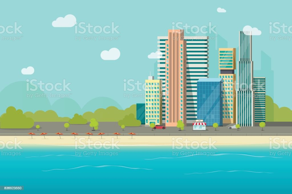 Big city near ocean beach vector illustration, flat cartoon high city skyscraper buildings from sea view, modern town landscape, urban cityscape or shore vector art illustration