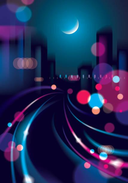großstadt nachtleben mit straßenlaternen und bokeh verschwommen lichter. wirkung vektor schönen hintergrund. bunten dunklen hintergrund mit stadtbild, gebäude silhouetten skyline zu verwischen. - landstraße stock-grafiken, -clipart, -cartoons und -symbole
