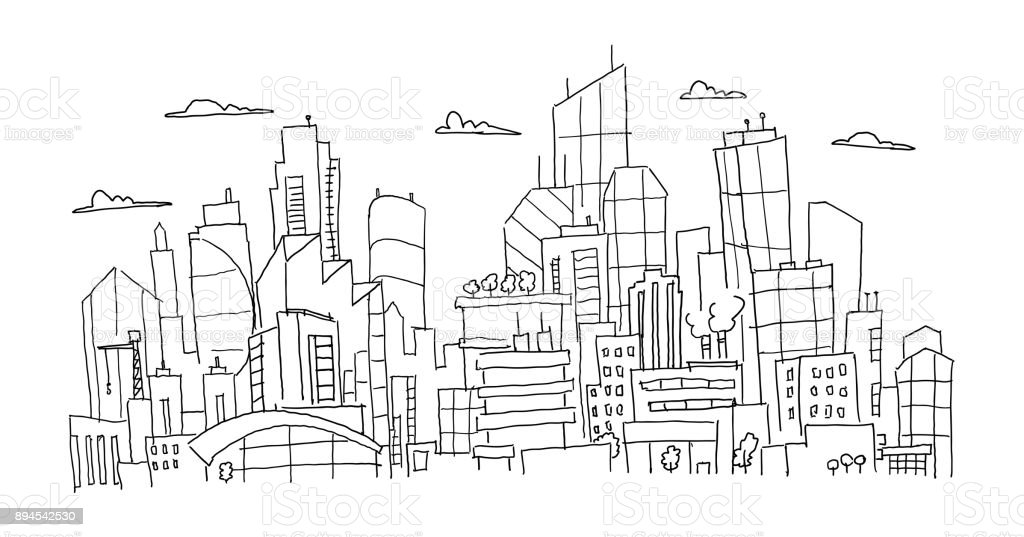 Big city panorama future sketch. Hand drawn vector stock line illustration. Building architecture landscape vector art illustration
