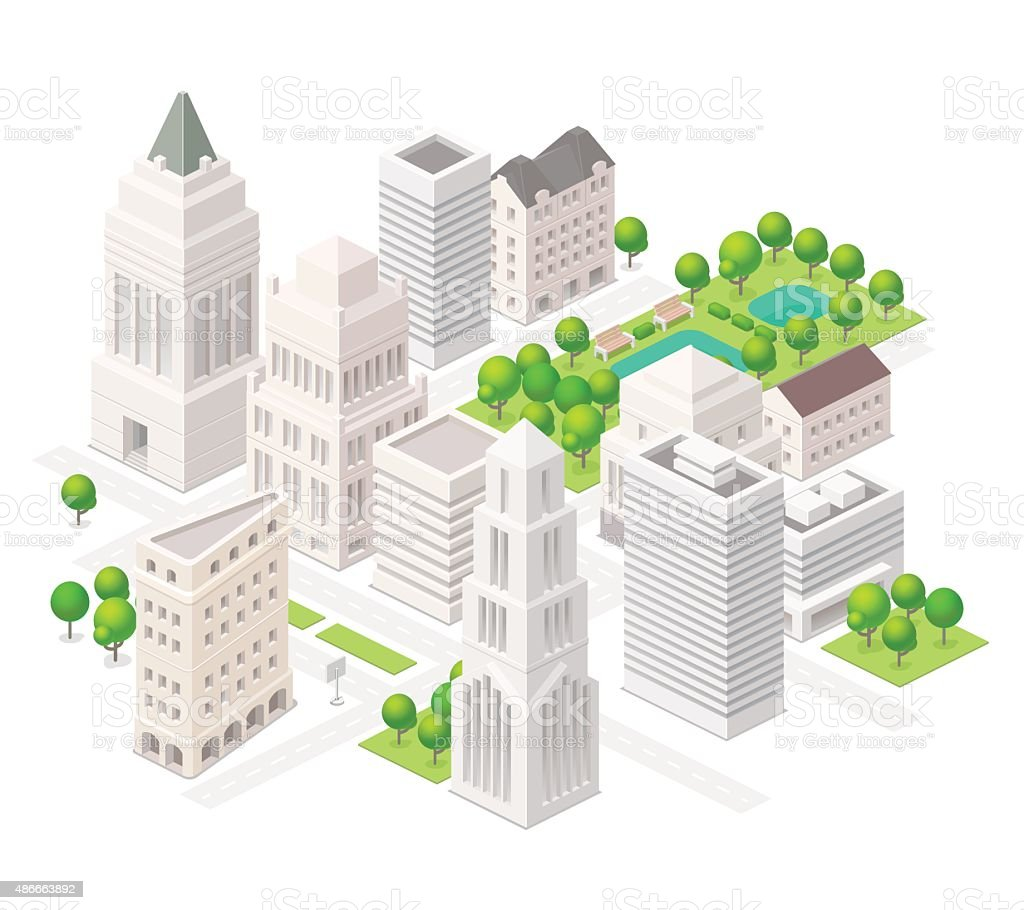 Big city. Set of the isometric vector elements. vector art illustration