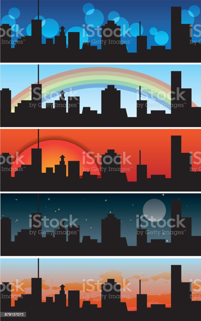 Big city - urban banners - collection of vector illustrations vector art illustration