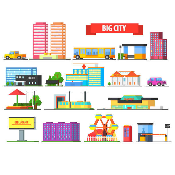 bildbanksillustrationer, clip art samt tecknat material och ikoner med big city urban icons set - billboard train station