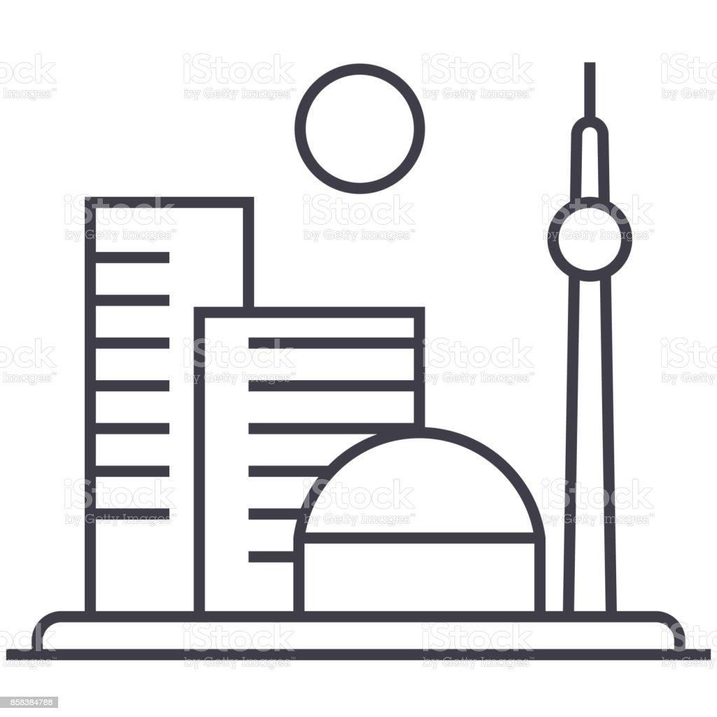 big city vector line icon, sign, illustration on background, editable strokes vector art illustration