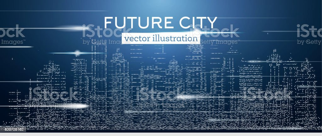 Big city with neon skyscrapers and flash. vector art illustration