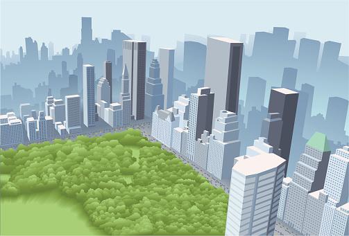 Big city with park