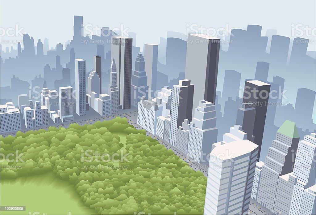 Big city with park vector art illustration