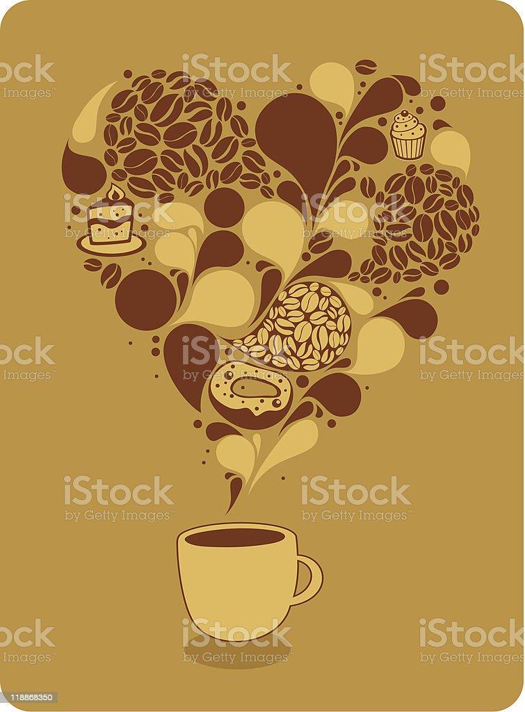 Big coffee heart royalty-free stock vector art