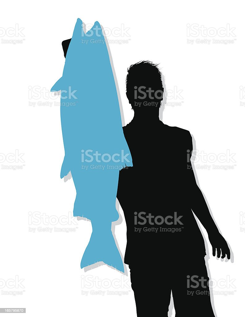 Big Coho Salmon Catch - Silhouette vector art illustration
