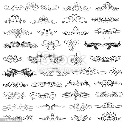 Vector Illustration of a Big Collection Calligraphic And Flourishes Elements and clip arts