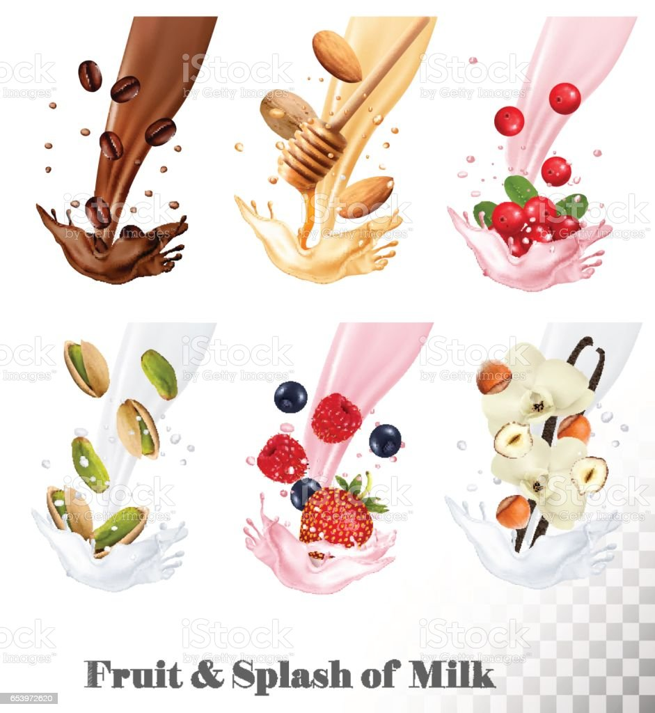 Big collection icons of fruit in a milk splash. \ vector art illustration