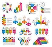 Big Collection infographics. Design elements. Infographics for business presentations or information banner. Vector illustration.