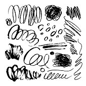 Big collection of black brush strokes, lines, grunge curly elements. Vector ink illustration. Isolated on white background. Freehand drawing. Dry smears doodle set