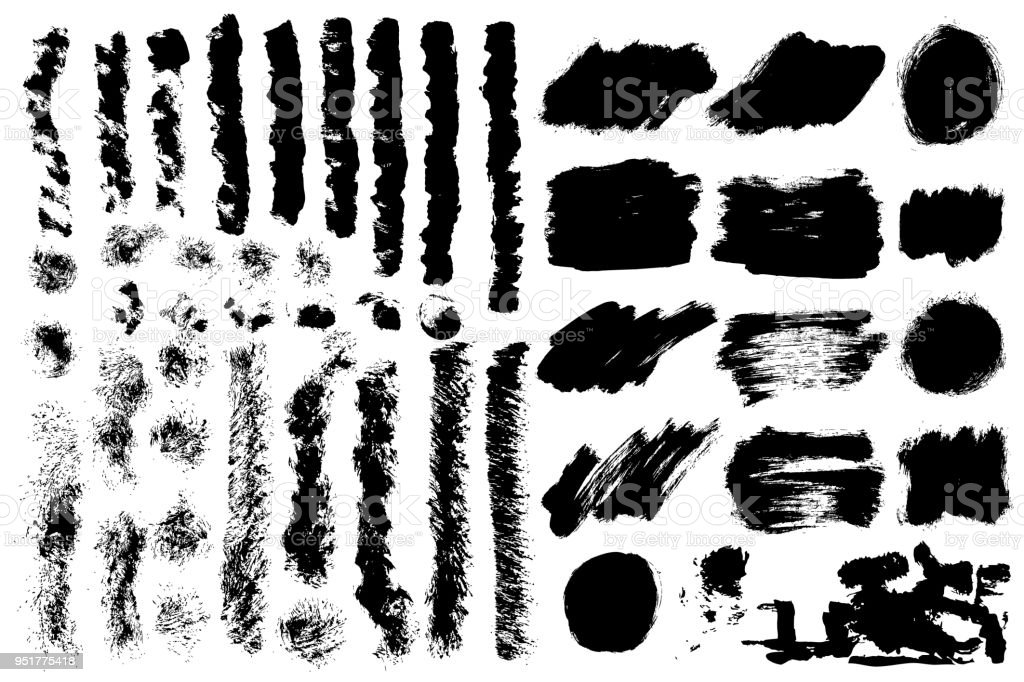 Big Collection Of Black Grunge Paint Ink Brush Strokes Brushes Lines ...