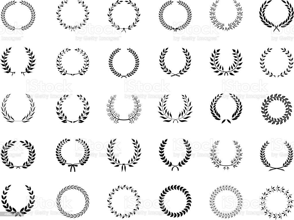 Big collection of black vector laurel wreaths vector art illustration