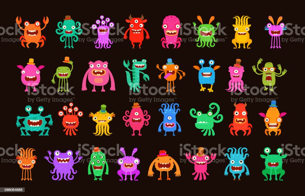 Big collection of cartoon funny monsters. Vector illustration - ilustração de arte em vetor