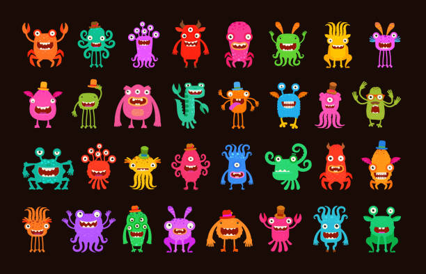 ilustraciones, imágenes clip art, dibujos animados e iconos de stock de big collection of cartoon funny monsters. vector illustration - fondos de animales