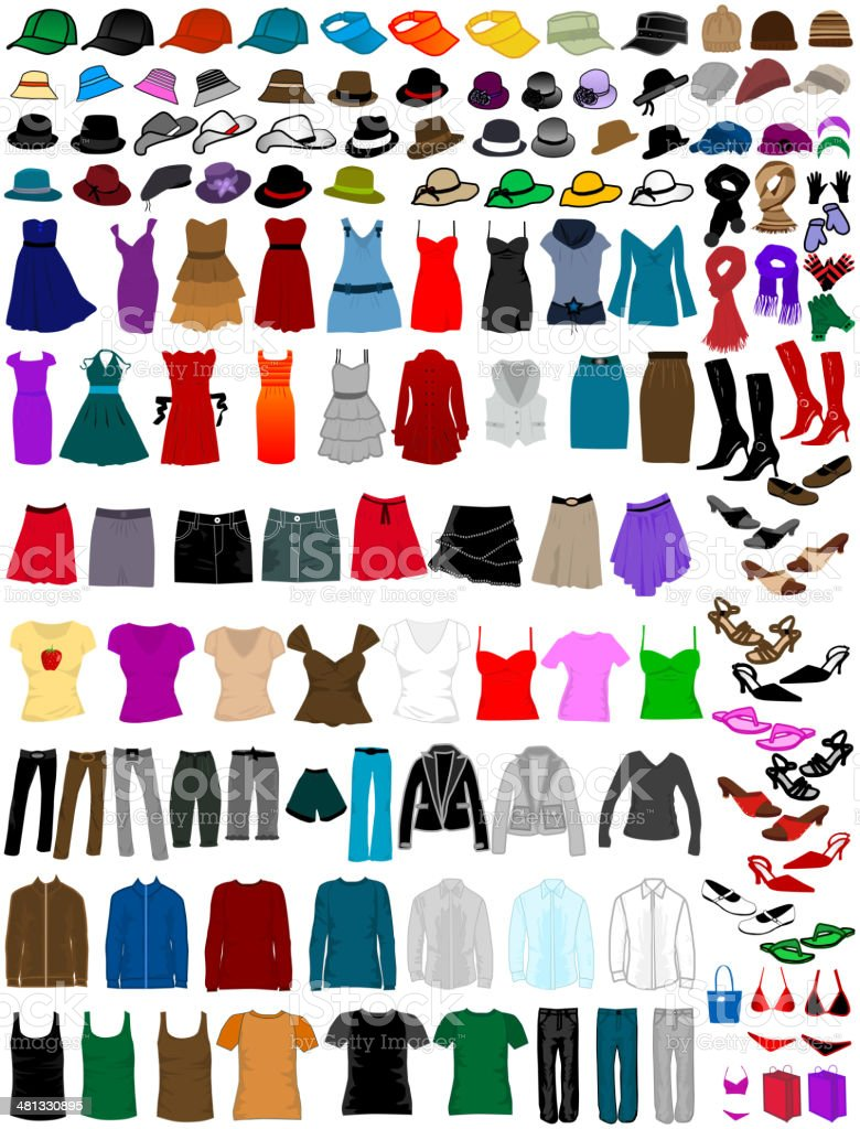 big collection of clothes and accessories vector art illustration