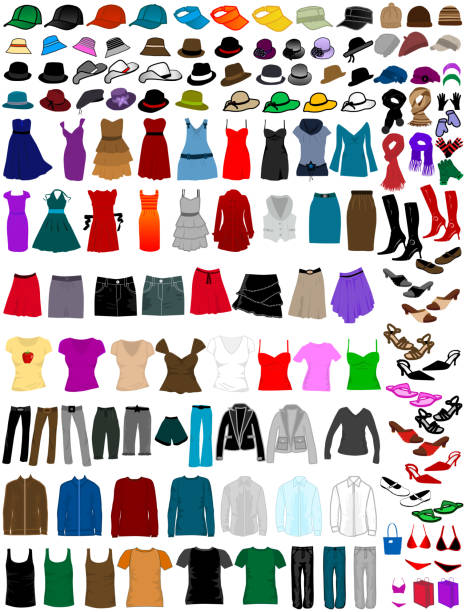 big collection of clothes and accessories big collection of clothes and accessories headscarf stock illustrations