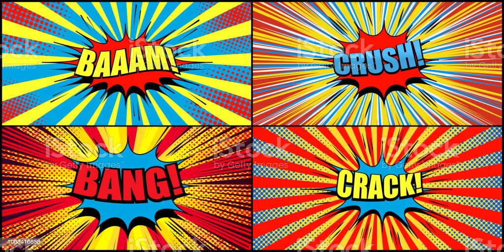 Big collection of comic backgrounds vector art illustration