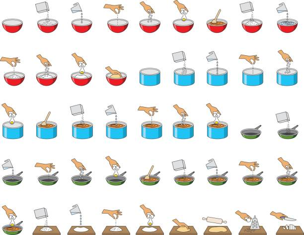 big collection of cooking symbols vector art illustration